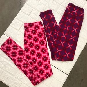 2 pair LLR Valentine's Day one size leggings